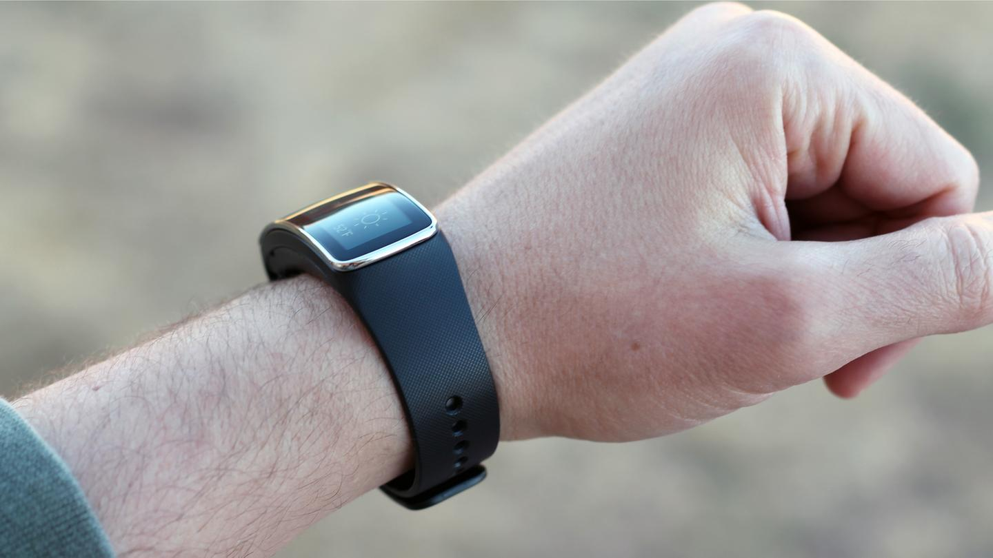 Unlike most full-fledged smartwatches, the Gear Fit is a narrow band with a curved display