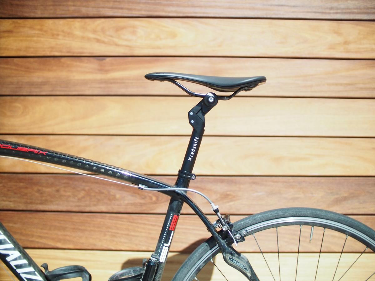 The ShockStop Seatpost provides 35 mm (1.4 inches) of suspension travel
