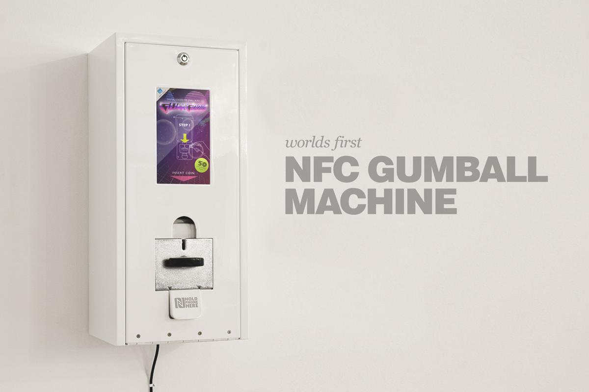 The Razorfish Emerging Experiences team has built a Digital Gum Machine that sends apps and games to a smartphone using NFC technology in exchange for small change