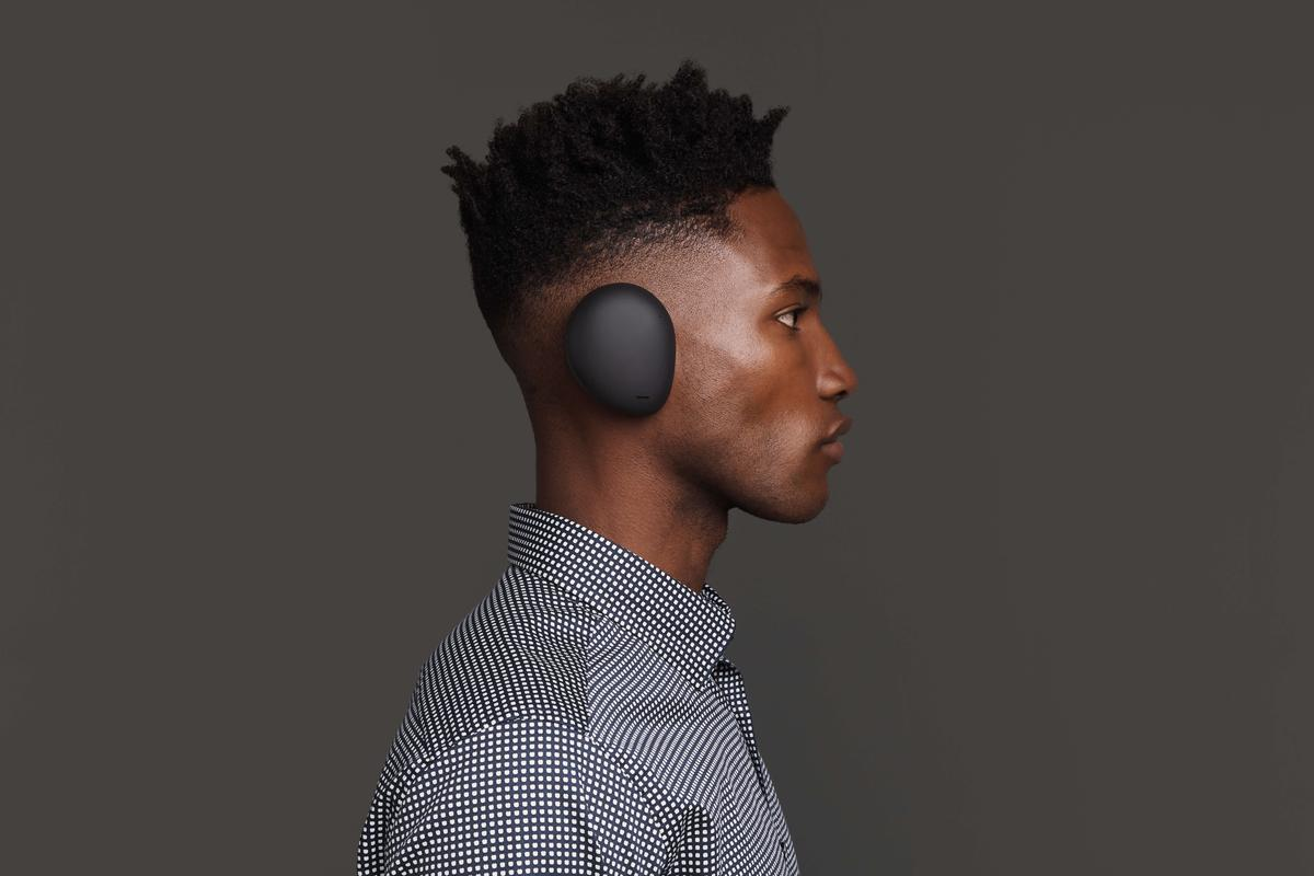 The Human Headphones are mounted directly onto the ear, no headband required