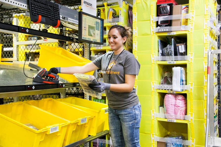 Amazon uses Kiva autonomous robots to bring the items required for an order to a staff member