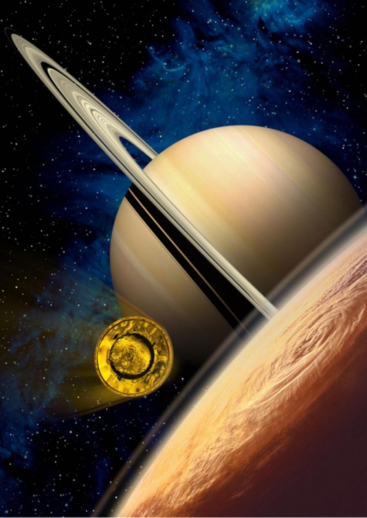 The Huygens Probe will enter the upper layers of Titan's atmosphere at 22000 km/h, slowing to about 1400 km/h in less than 2 minutes. Artists view courtesy of ESA-D. DUCROS