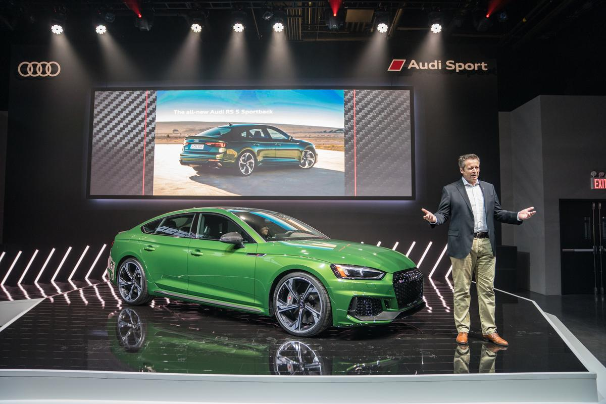 Michael-Julius Renz, managing director of Audi Sport, introduces the new 2019 RS5 Sportback at the New York International Auto Show