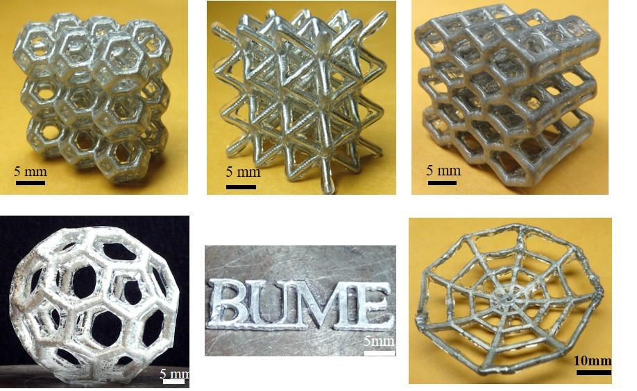 An assortment of items made of the liquid metal lattice