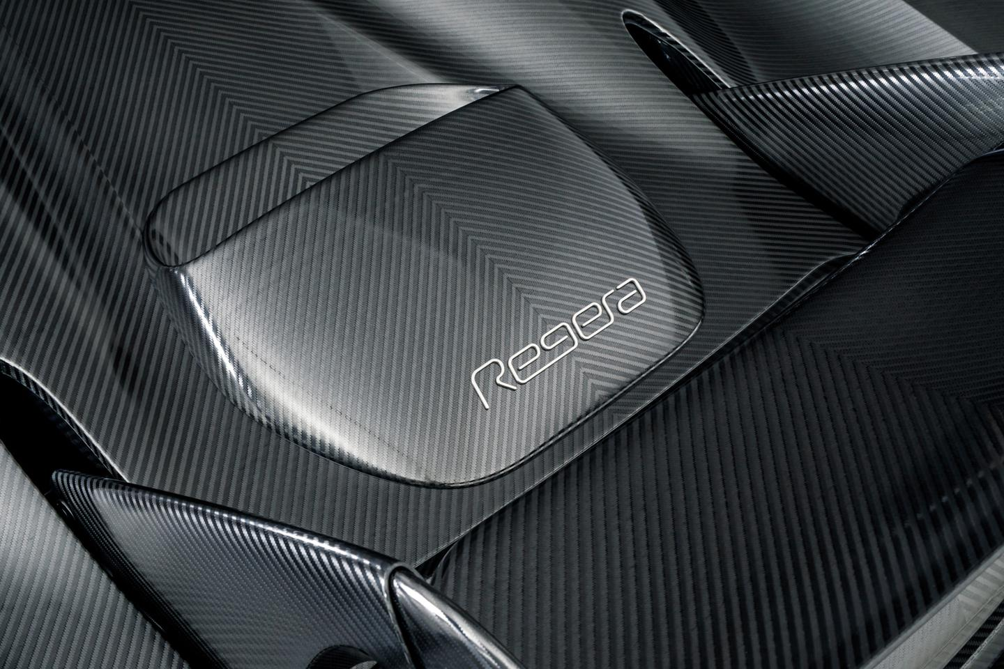 Koenigsegg's KNC Regera: the naked carbon has a graphite-like sheen as the light catches the strands