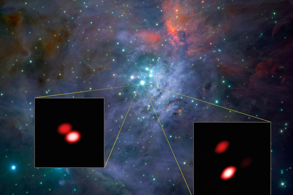 During the first light tests, GRAVITY discovered a hitherto unknown double star in the Trapezium Cluster of the Orion nebula