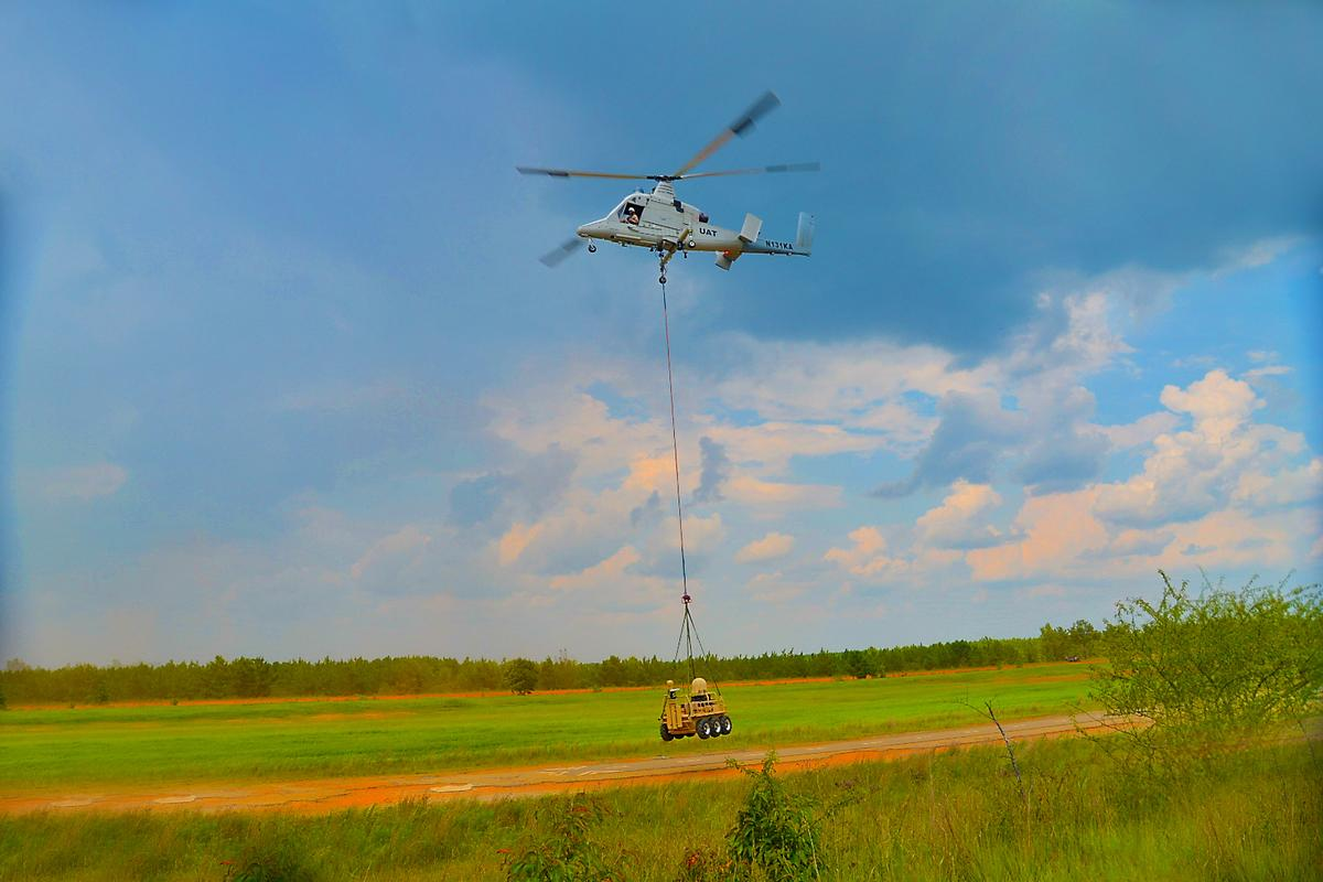 A K-MAX unmanned helicopter autonomously delivering an SMSS by sling load as part of a first fully autonomous mission demonstration