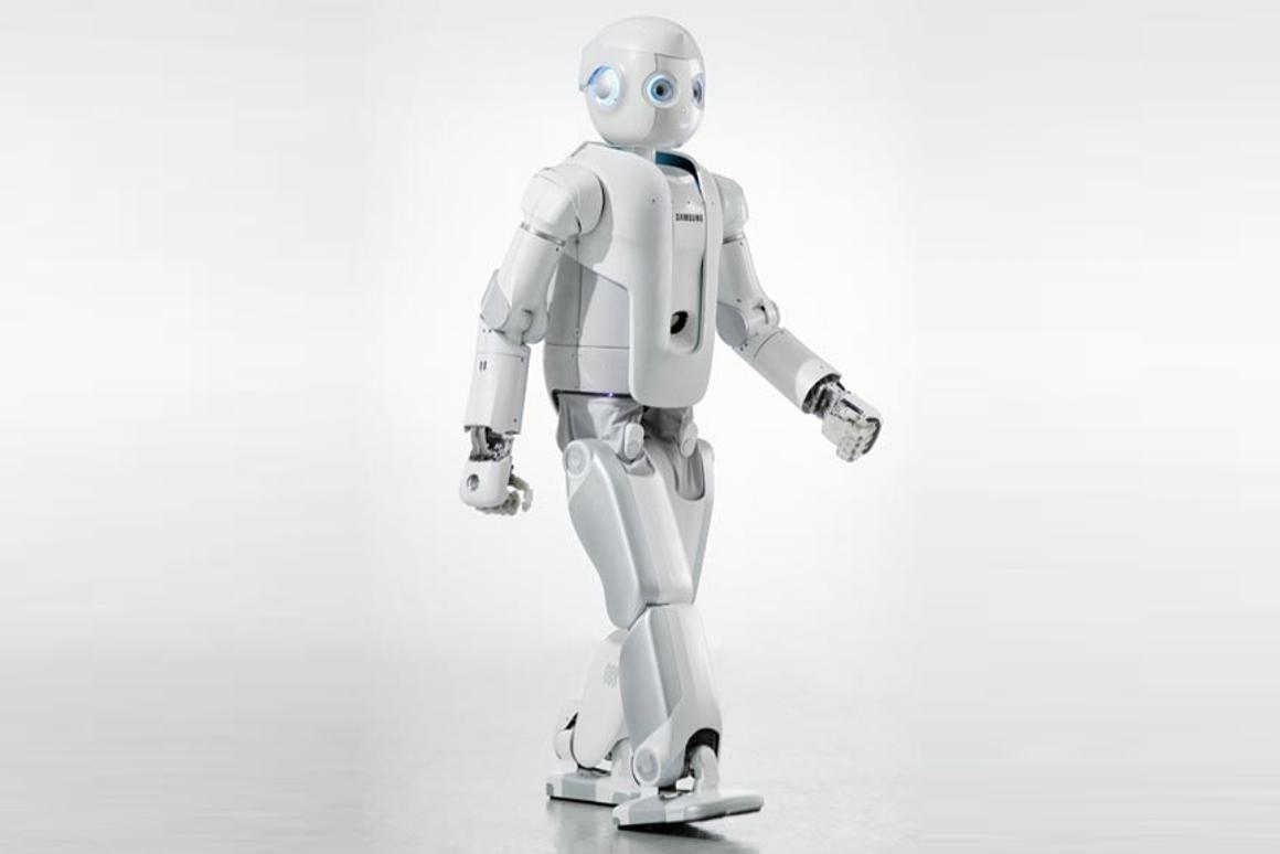 A photorealistic rendering of Samsung's new humanoid robot, Roboray