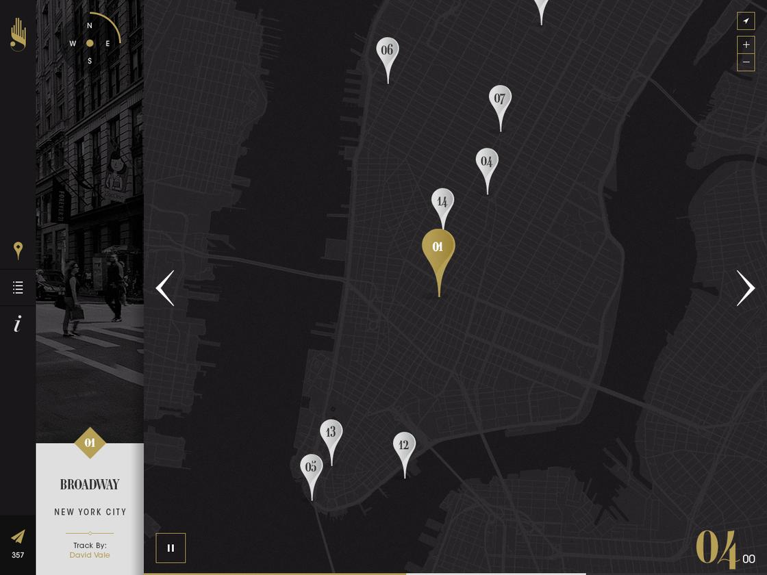 Select areas of interest on each city map to experience 3D sounds and panoramic images for that location