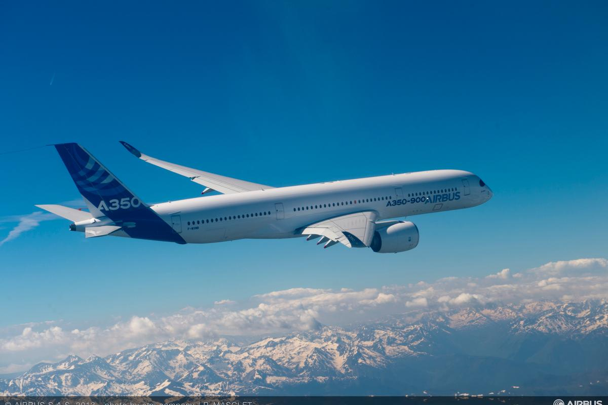 The Airbus A350 XWB on its maiden flight