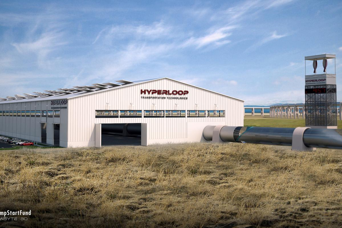 Concept rendering of a Hyperloop station at Quay Valley (Image: Hyperloop Transportation Technologies)