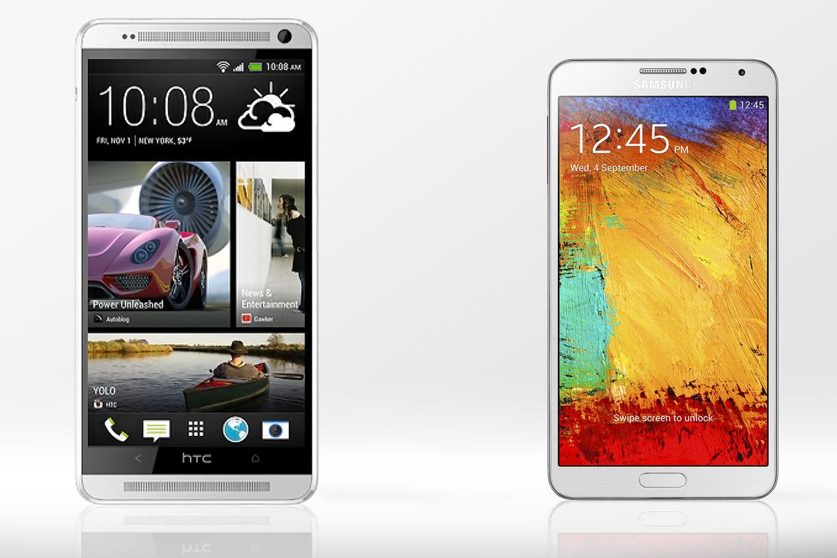Gizmag compares the features and specs of the HTC One max and Galaxy Note 3 phablets