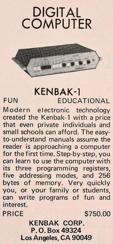 Kenbak-1 advertisement that appeared in the September 1971 Scientific American