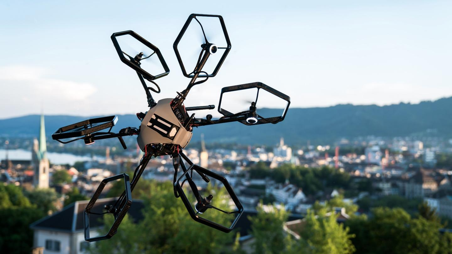 The Voliro hexacopter's tilting rotors let it hover and fly in any orientation