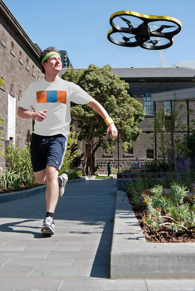 A research team from the Royal Melbourne Institute of Technology has modified a commercially-available quadrocopter and turned it into an autonomous, flying running partner for solo joggers