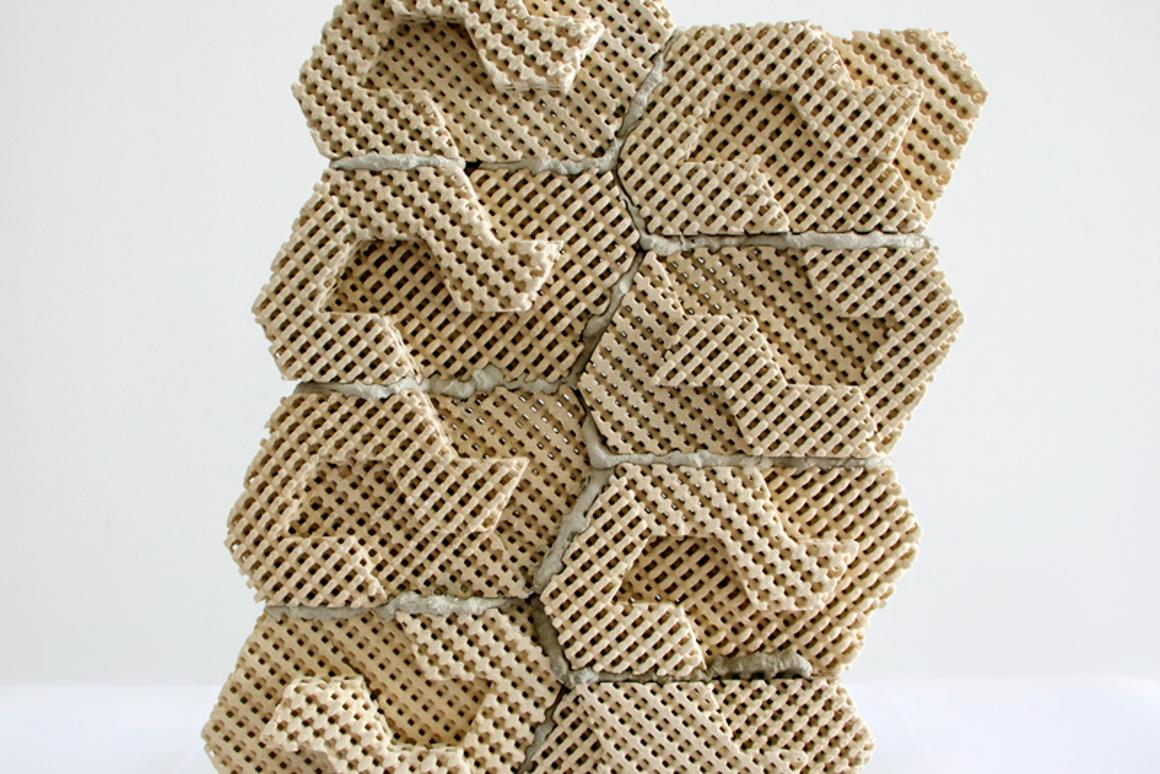 The 3D-printed cool brick can hold water in its pores, like a sponge (Photo: Emerging Objects)