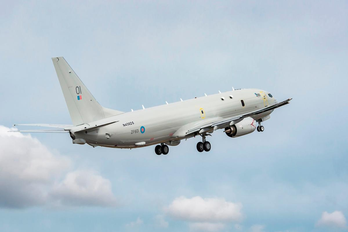 The first Boeing P-8A Poseidon aircraft for the United Kingdom lifts off from Renton, WA for its inaugural flight