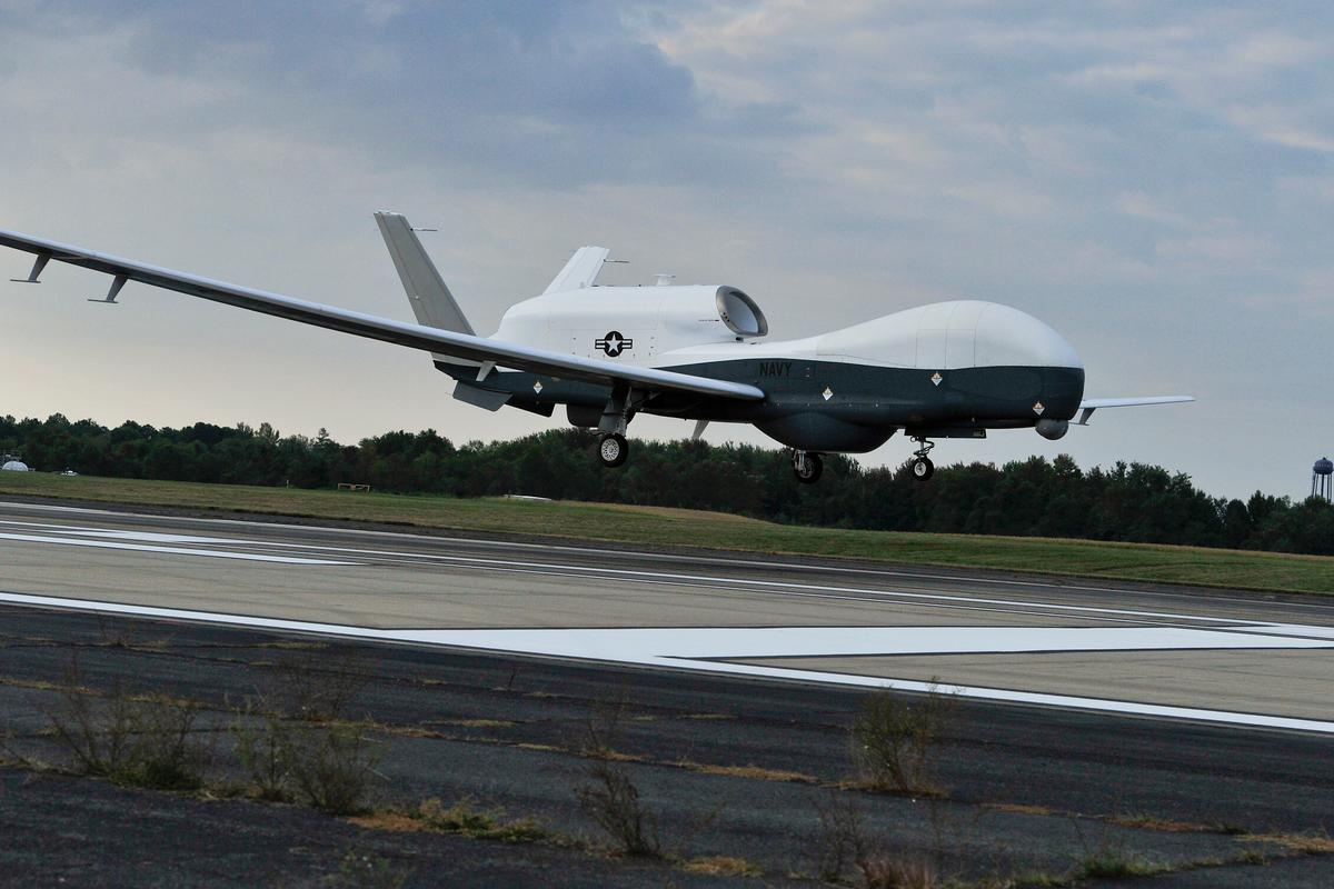 The Navy's unmanned MQ-4C Triton prepares to land at Naval Air Station Patuxent River (Image: US Navy