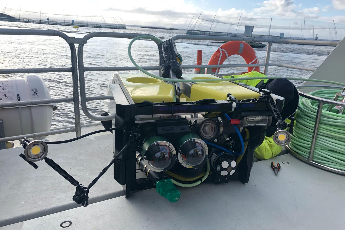 The CageReporter robot, at one of the SalMar-run fish farms where it was recently trialled