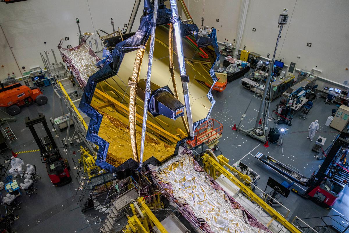 The James Webb Space Telescope in the clean room at Northrop Grumman in July 2020