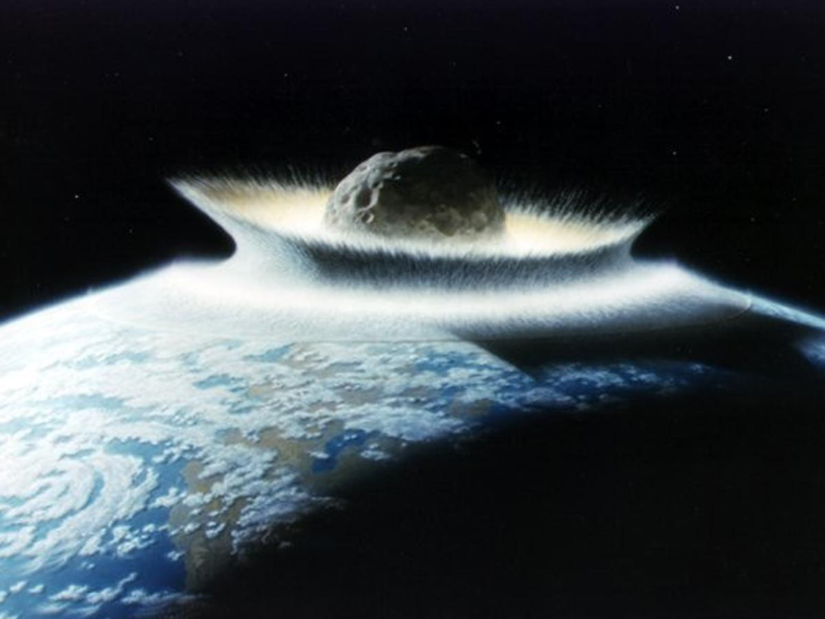 An artist's rendition of an asteroid striking Earth