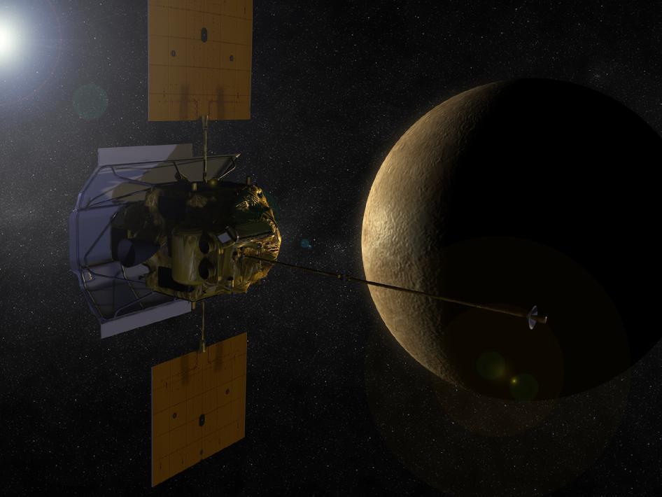 Artist's concept of MESSENGER in orbit around Mercury (Credit: NASA)