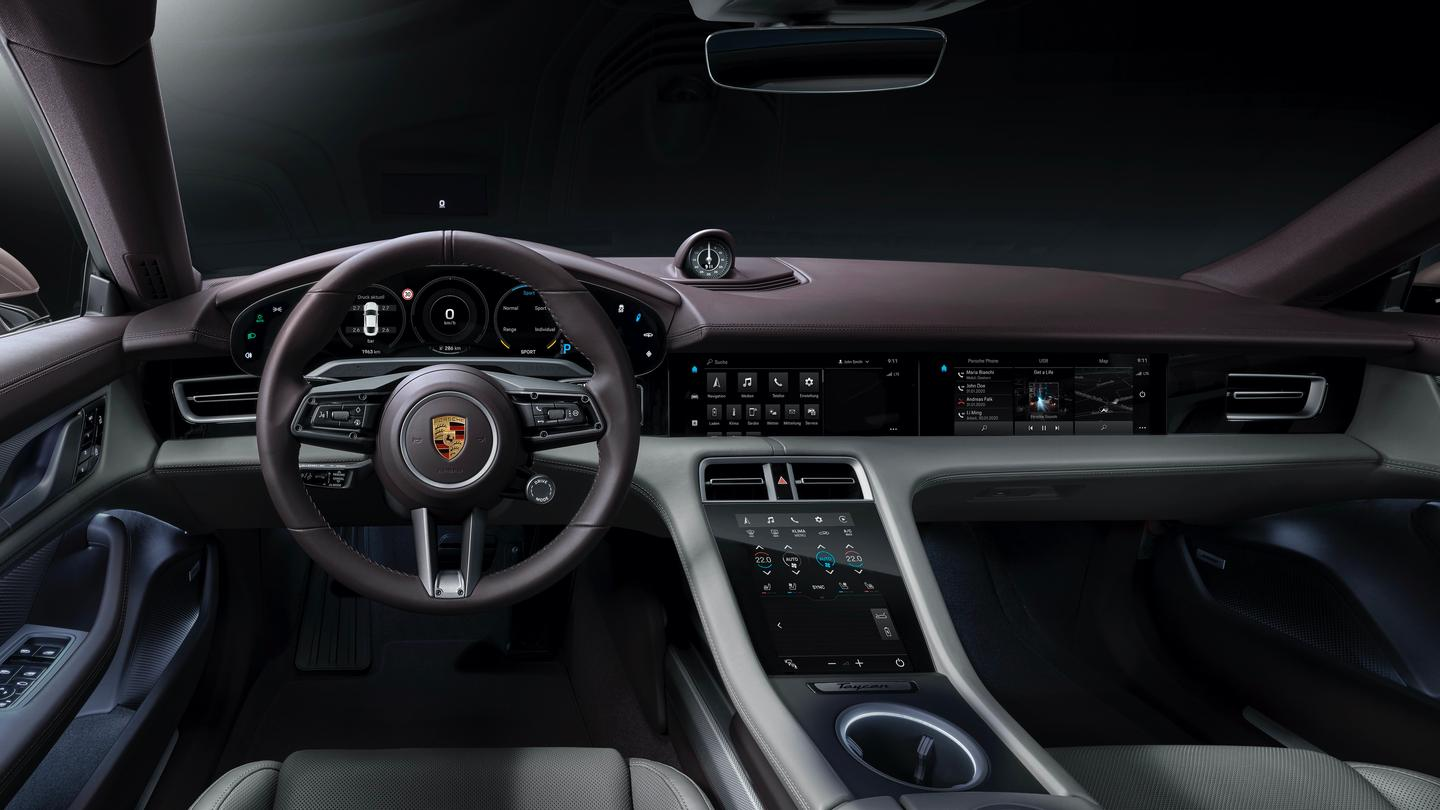 The new entry-level Porsche Taycan is available leather-free or with varied upholstery and options such as the passenger's infotainment screen
