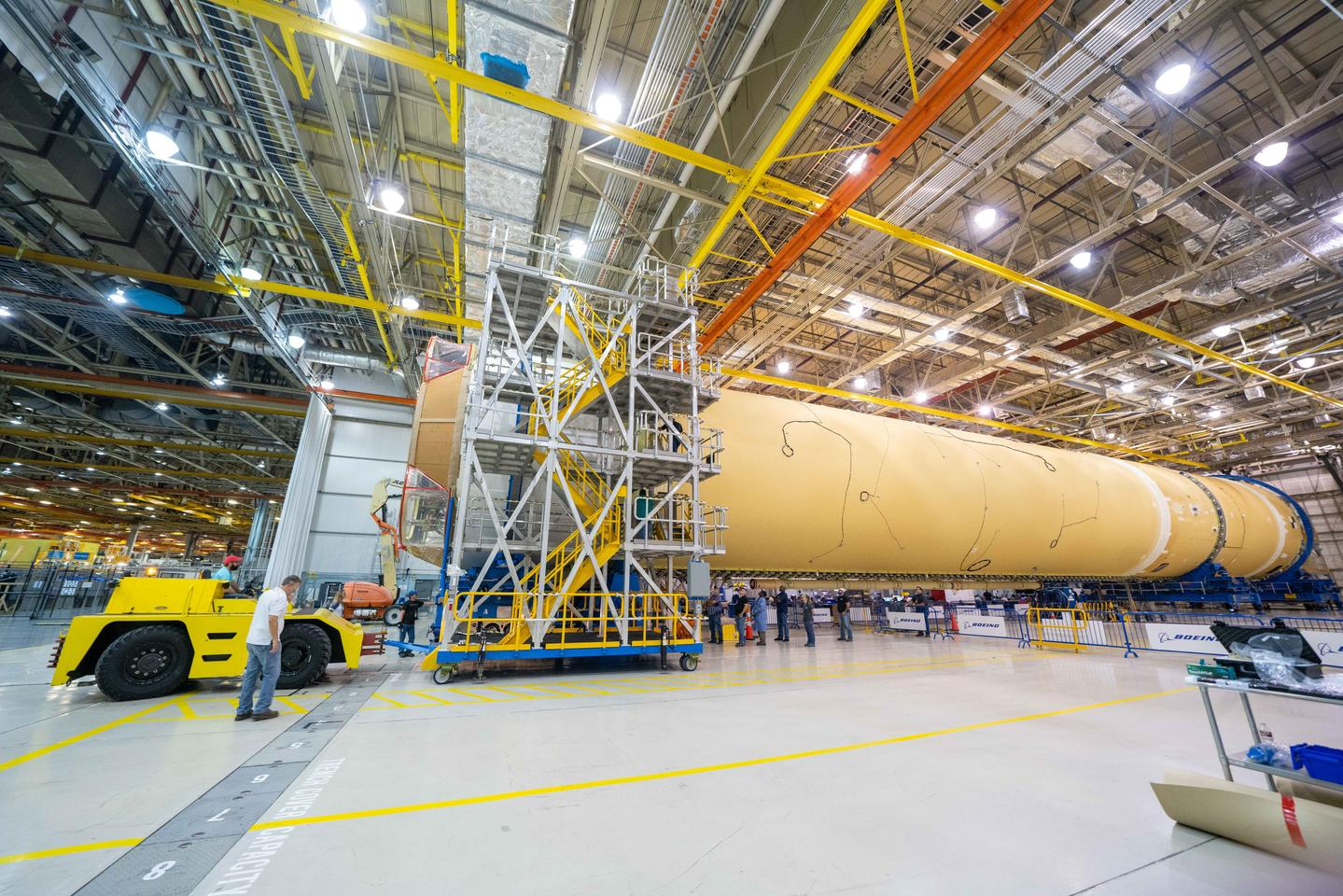Boeing is building the massive 212-ft Space Launch System (SLS) core stage for NASA's Artemis I mission