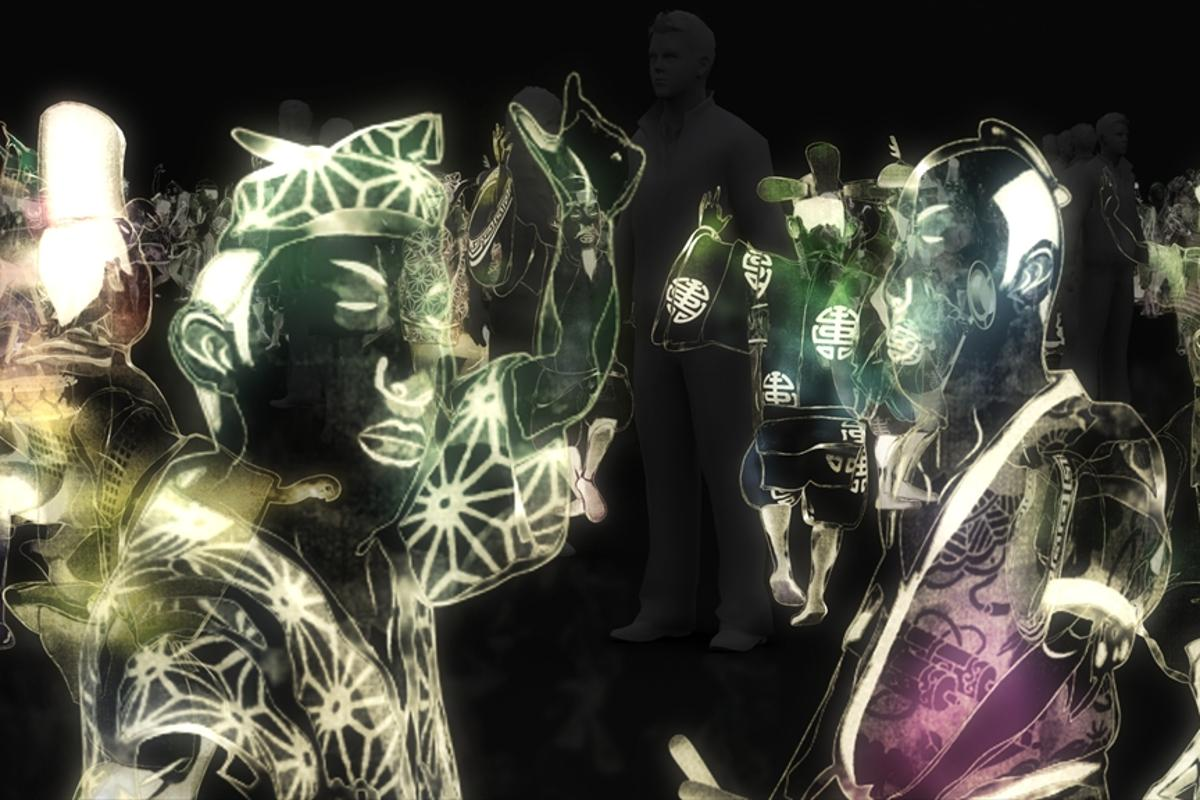 A group of dancing holographic men (Photo: TeamLab)
