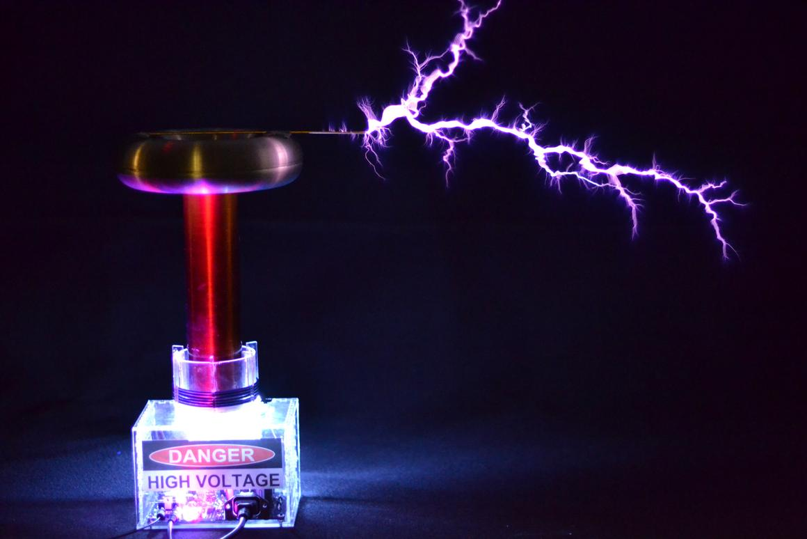 Designed as an educational development kit for experienced hobbyists, the 10-inch tall oneTesla music-playing Tesla coil