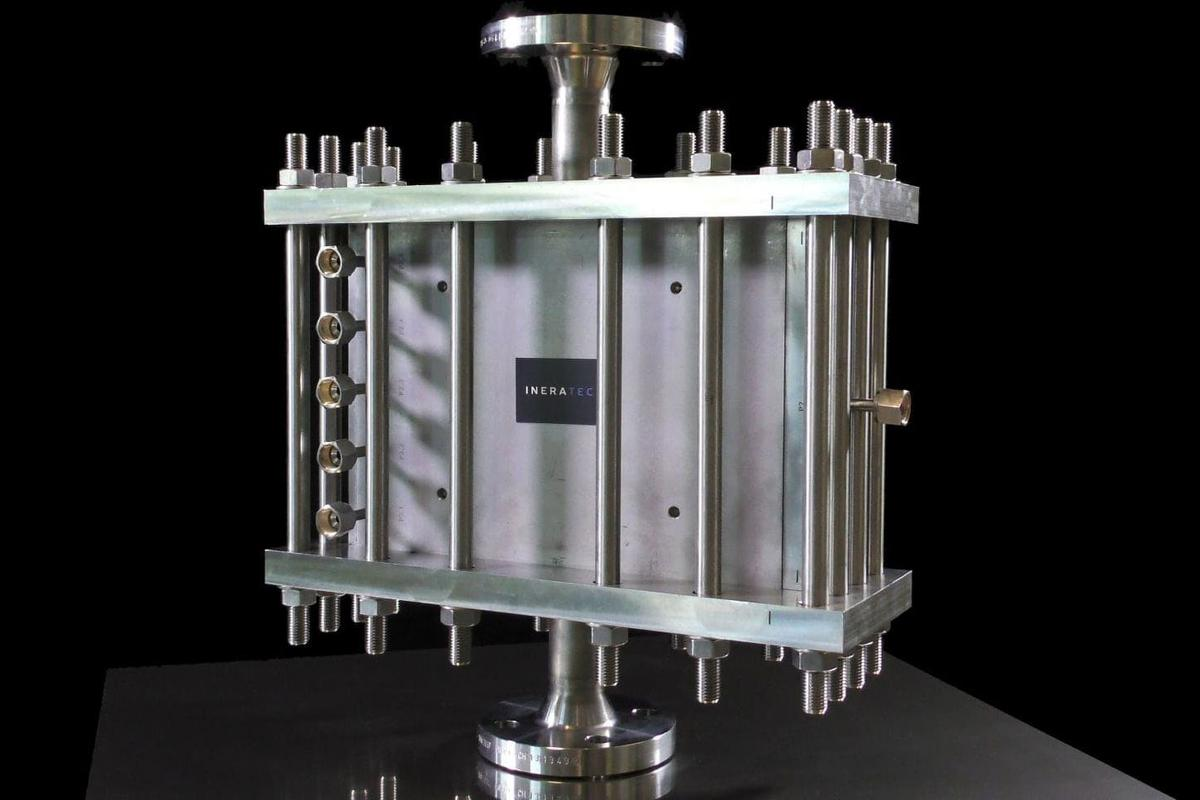 The chemical reactor at the heart of the Ineratec system designed to convert CO2 from the air into liquid fuels