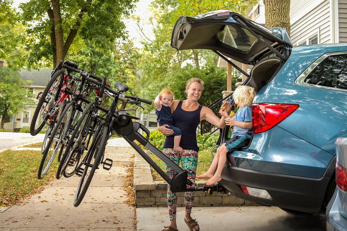 The Glide rack moves bikes back from the hatch, and is claimed to be lighter than other hatch-access hitch racks