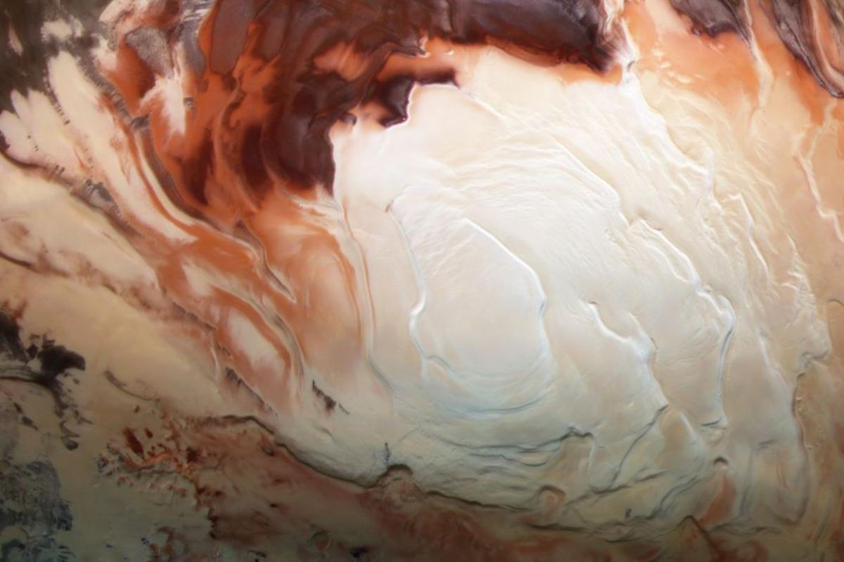 The ice cap at the south pole of Mars, beneath which liquid lakes were thought to exist