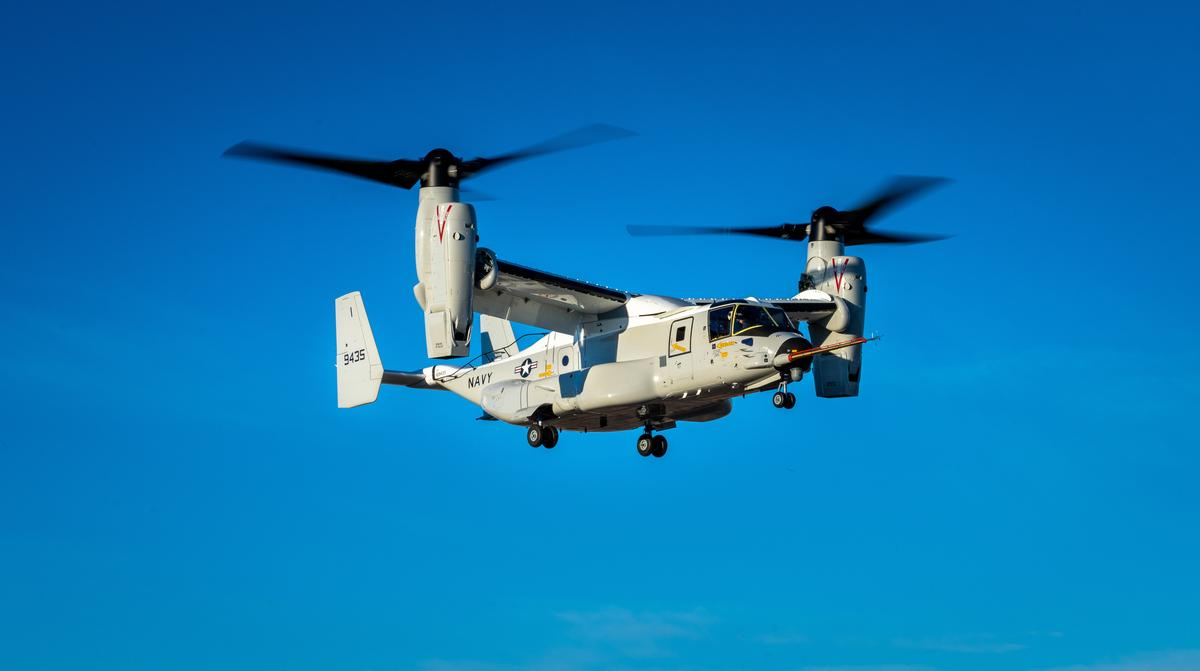 The maiden flight of the first CMV-22B Osprey took place in Amarillo, Texas