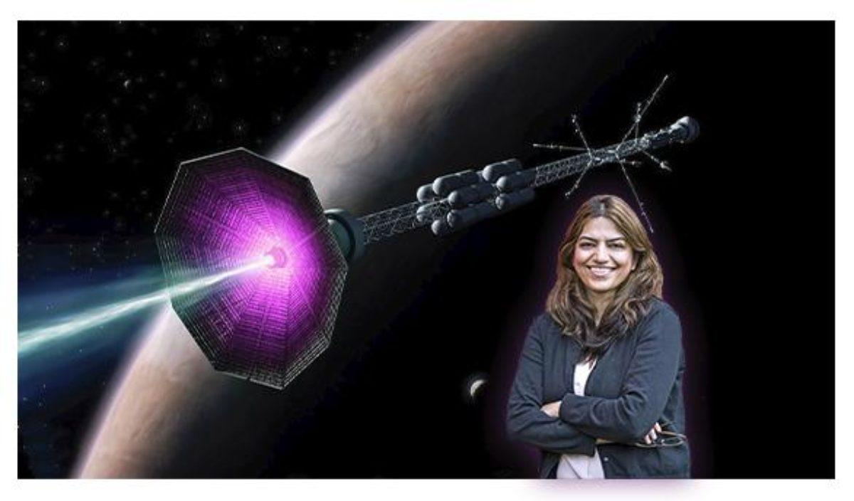 Fatima Ebrahimi and an artist's concept of the magnetic reconnection plasma thruster in operation