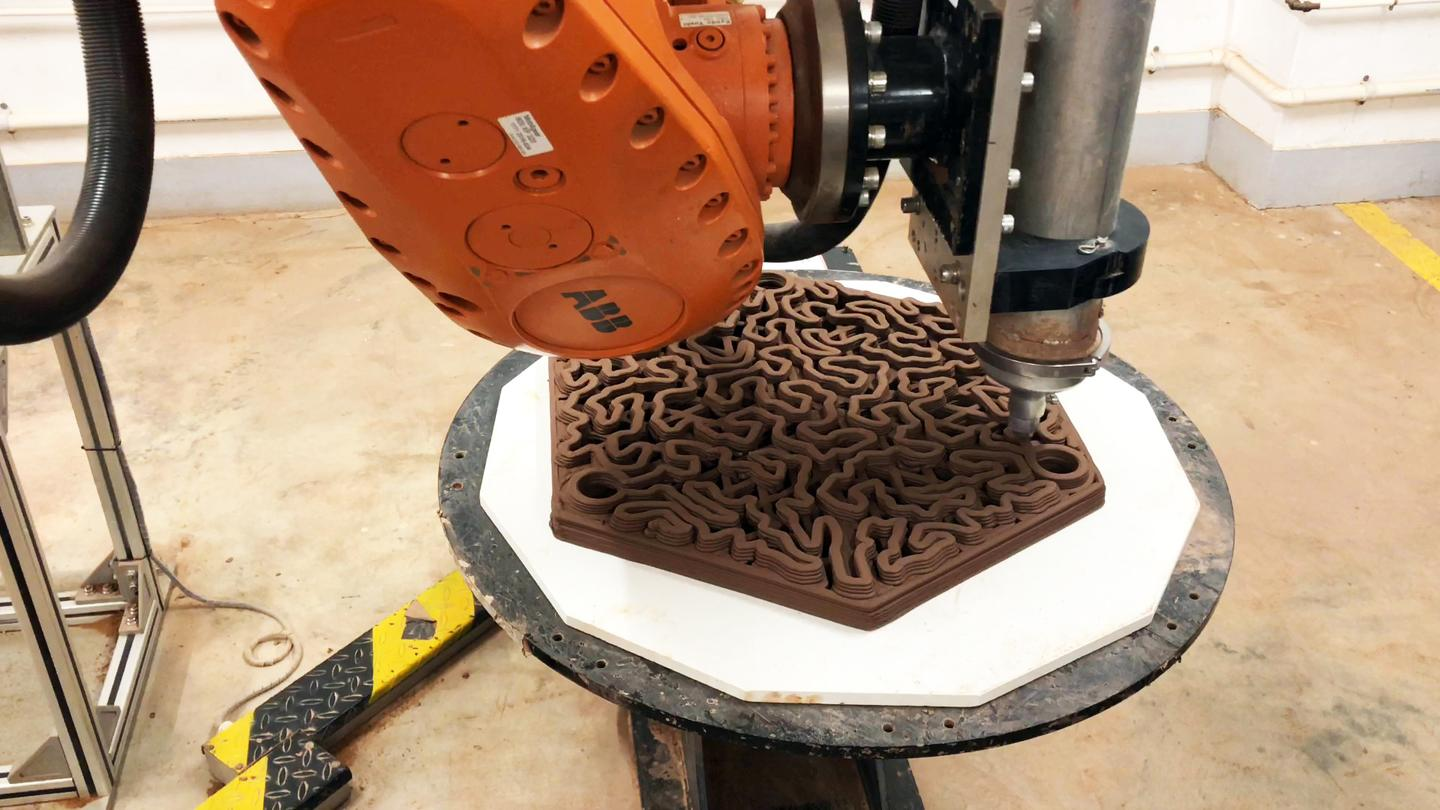 The reef tiles are robotically 3D-printed out of conventional terracotta clay, which is then kiln-fired at a temperature of 1,125 ºC (2,057 ºF)