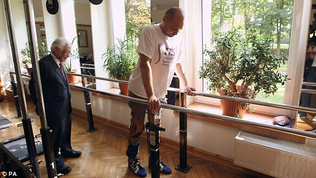 A new treatment has allowed Darek Fidyka to take his first steps after being paralyzed from the chest down as a result of a knife attack (Photo: BBC Panorama)