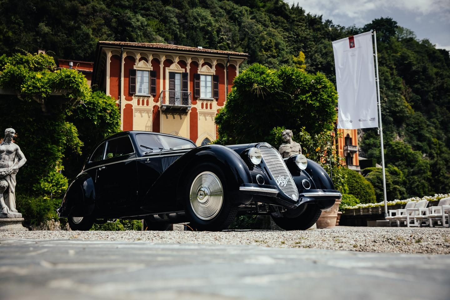 This 1937 Alfa Romeo 8C 2900B Touring Berlinetta owned by David and Ginny Sydorick: In taking out the most prestigious concours events in both America and Europe, plus the Peninsula Classics Best of the Best award in Paris in February (2019), the car has achieved the equivalent of a Tennis Grand Slam