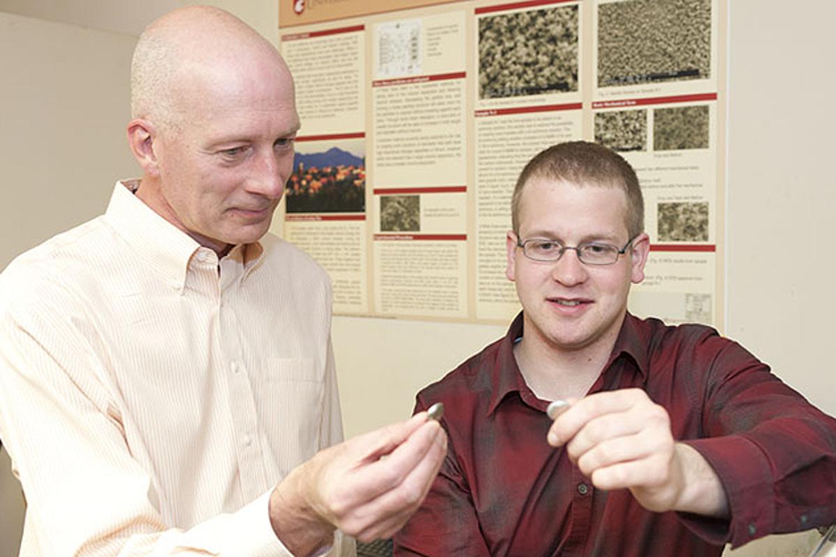 Tin anode creator Prof. Grant Norton and student, David Mackay