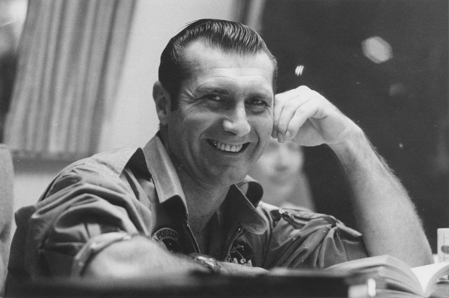 Apollo 12 astronaut Richard Gordon is all smiles during a break in de-briefing aboard the Hornet
