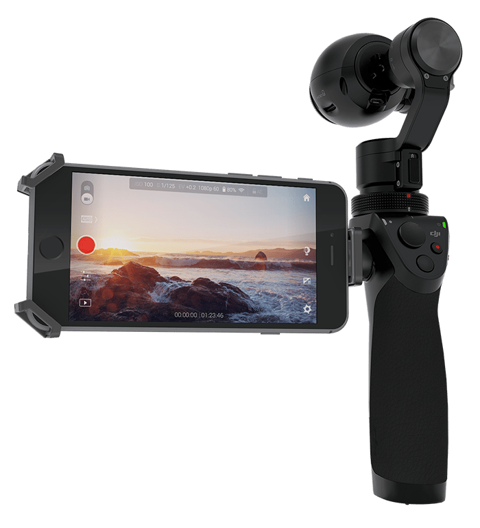 The Osmo's 3-axis motorized gimbal automatically adjusts the pitch, roll and yaw of the camera, allowing it to maintain a smooth, level shot while its user carries it by hand