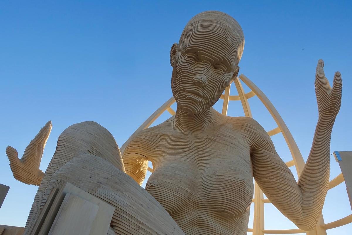 Mariposita, a 21-foot-tall sculpture on display at Burning Man 2019