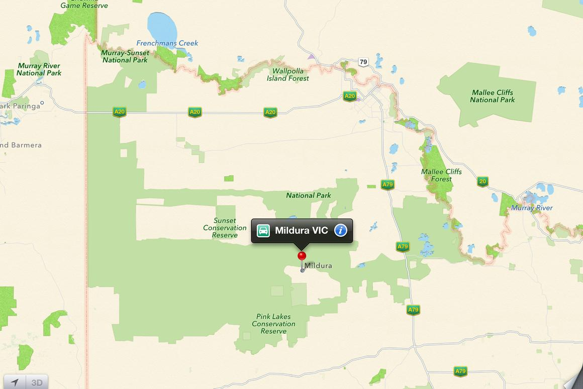Apple Maps shows the town of Mildura some 70 km (44 miles) south of its actual location