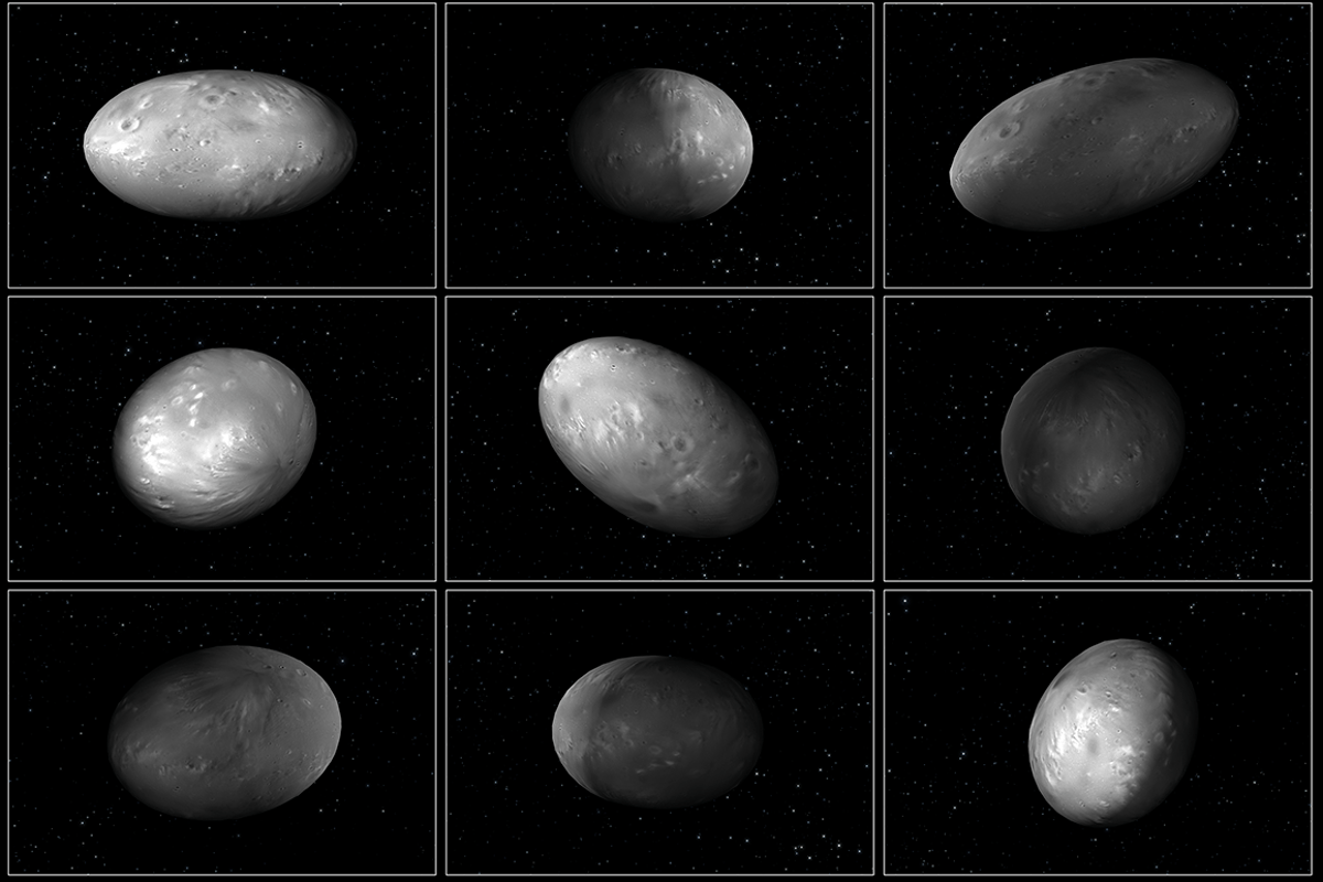 "This set of computer modeling illustrations of Pluto's moon Nix shows how the orientation of the moon changes unpredictably as it orbits the ""double planet"" Pluto-Charon"