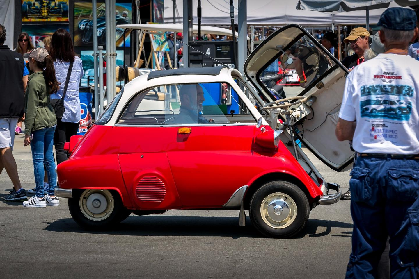 BMW'S iconic Isetta entertains at the entrance to the BMW tent