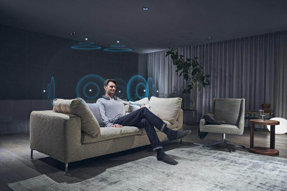 The combination of a neckband speaker, wireless transmitter, Bravia XR television and a mobile app will allow home theater buffs to become immersed in a cinematic sound bubble