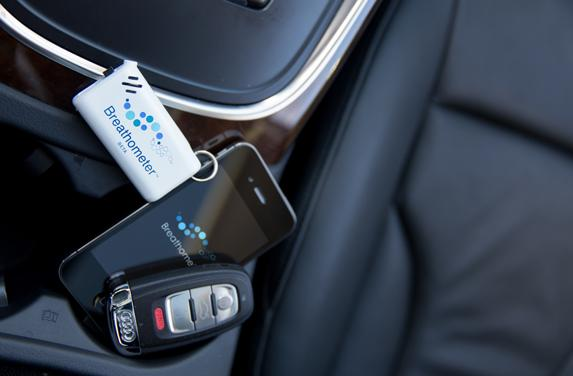 The Breathometer is small enough to fit on your key chain