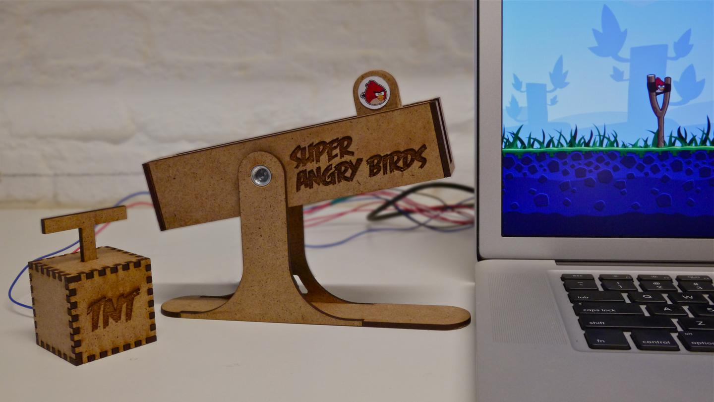 Two students designed a slingshot-style controller just for Angry Birds out of a motorized slider from a sound mixer and an Arduino microcontroller