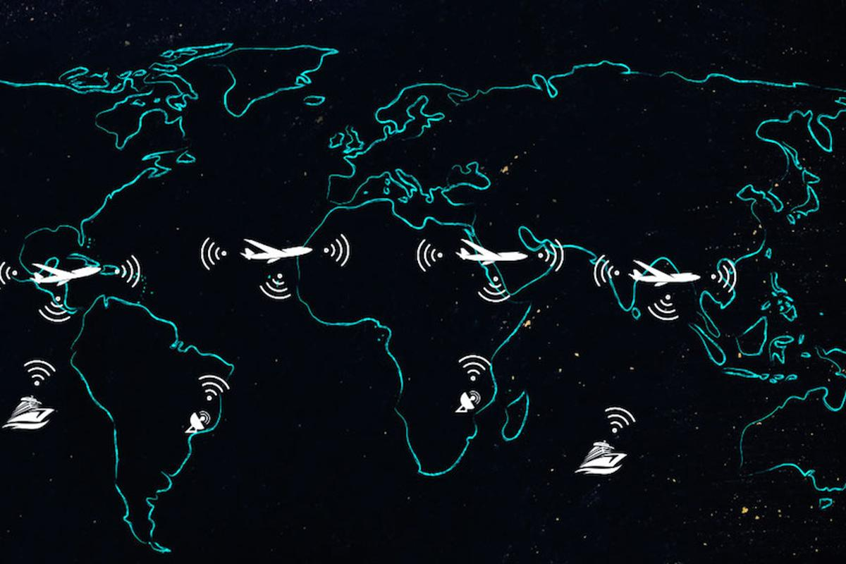 The AIrborne Wireless Network is a proposed system that would use commercial aircraft as nodes in a worldwide meshed network, beaming data between each other, ships and ground stations