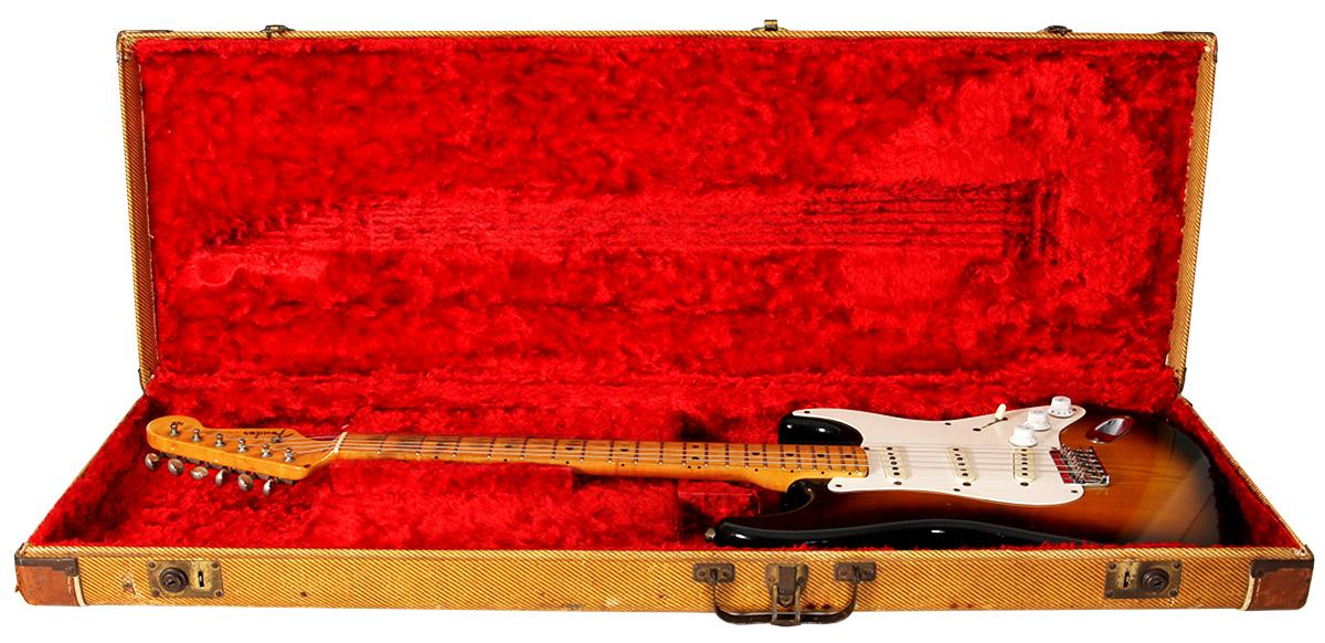 The Slowhand Strat, which Eric Clapton used for slide guitar in the late 1970s/early 80s, comes in a tweed flight case with plush red lining